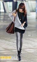 Hot sale! Fashion Needle wire long t shirt patchwork Bat sleeve t shirt L1057681227