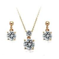 Ювелирный набор nickel 18KGP copper alloy austria crystal pendant necklace set fashion necklace+ stud earrings