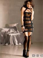 Сексуальная ночная сорочка Model 6229 newest! Black Sheer sexy bodysuits chemises g string cheap price female mesh lingerie sexy sleepwear