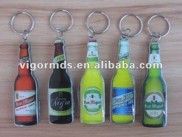 (GFK-3104) 4 N 1 Beer Bottle Shaped Multifunction Opener Knives Keychain Tools