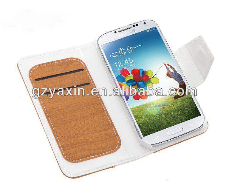 wallet cases for samsung galaxy s4,wooden leather cell phone case for promotion