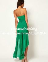 Страна Стиль Милая зеленого шифона высокий низкий невесты короткие передние долго обратно au573