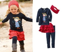 Комплект одежды для девочек Hot sell girl child children's clothing long-sleeve casual suit