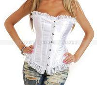 Корсет Sexy White Trim Boned Satin Corset Top Lace up Bustier Women Bodyshaper Lingerie S M L XL 2XL