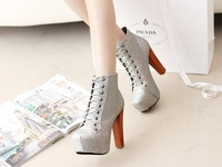 Jeffrey Campbell Imitation Shinning Front Lace up Thick Heel Square Toe Ankle Boots YN120914-05