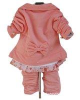 Комплект одежды для девочек children babyclothing set baby girls suit girls coat+t-shirts+pant fit 1-3years pink red size 6 8 10 12