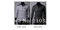 Мужская футболка Men t shirt 2013 +Men's long Sleeve T Shirt slim fit, Polo shirt, cotton, 2colors, 4sizes, drop shipping MLT11
