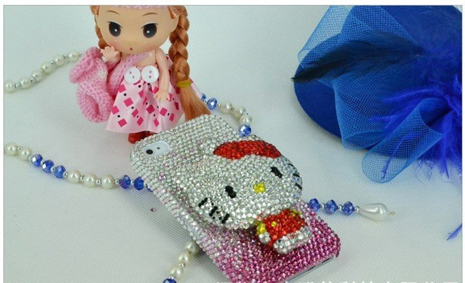 Free shipping of  lovely 3D hello kitty design shiny diamond  case/cover for iphone4/4s! crystal case for iphone!