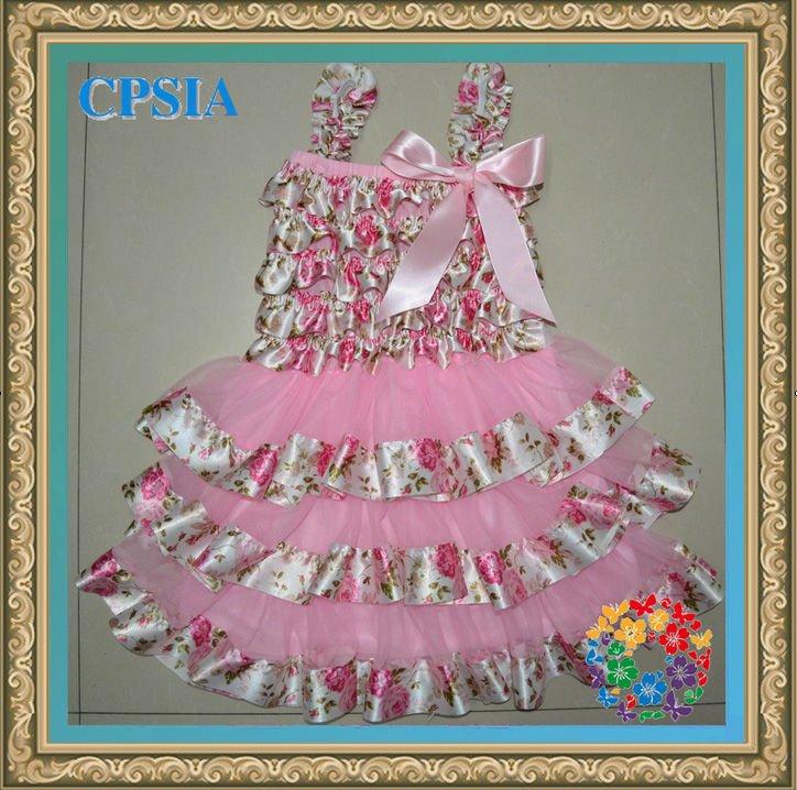 Pink flower Baby petti lace dress chiffon satin dress