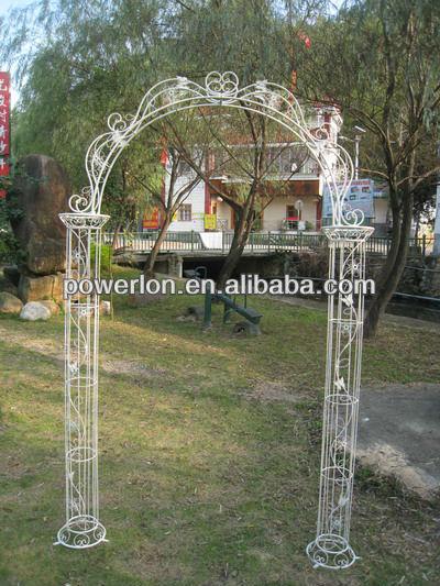 Hermosa artesan a del hierro antiguo blanco jard n arco for Arco decorativo jardin