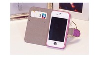 Чехол для для мобильных телефонов Luxury PU Leather Shimmering Powder Wallet Case for iPhone 5 5s 4 4s Cell Phone Diamond Bag Stand Design Cover 5 Colors