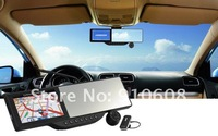 Black 72P HD DVR Bluetooth Rearview Mirror with Built/in GPS Navigation Windows CE 6.0