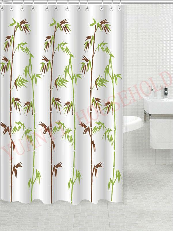 Diseño de bambú impresa cortina de ducha cortinas de baño de tela ...