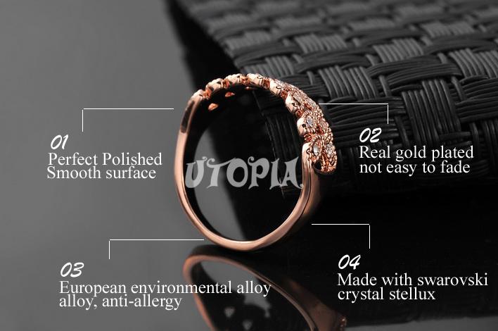 Italina Rigant 18K Роуз Позолоченные 2014 Кольцо Сделано с Swarovski Crystal Stellux высокое качество оптовой # RG95683