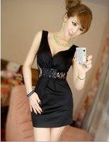 Женское платье 2012 new women's summer korean dress v-neck mini dress ladies' pearl lace sexy dress night club dress