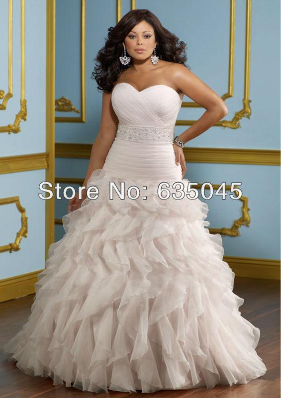 Custom Made Organza Pleat Ruffles Beading Romantic Sweet A Line Plus Size  Wedding Dress Vestido De Noiva ↓photograph↓ 1406 21406 11406 3 Vestidos