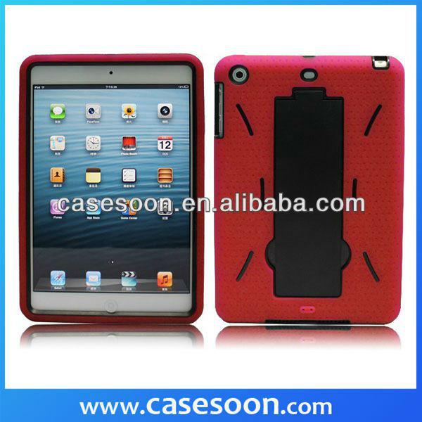 Hybrid Plastic Silicone Hard Cover Snap Case Kickstand For Apple Ipad Mini,for ipad mini kickstand case,For iPadmini hybird case