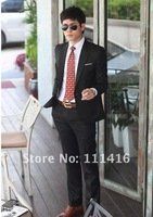 Free Shipping new korean Fashion Men Suits Coat Top One Button suit blazer Style Slim business suits black 165A