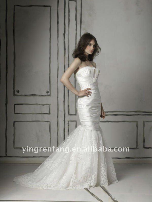 2011 Promotion Satin Ruffle Floor-Length Court Train Suzhou strapless lace mermaid wedding dress