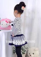Платье для девочек new 2012 spring/Autumn girls princess dress, child dress with flower pin