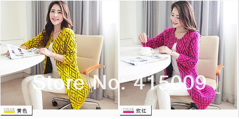 новые женщины в Европе и Америке длинные секции простой круглый шеи мохеровый свитер джемпер свитер пальто
