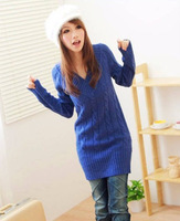 Женский пуловер 2013 new autumn and winter women long V-neck twist sweater