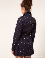 Женский тренч 2012 autumn vintage elegant bird pattern belted coat trench/1 piece fall women ladies coat/DZ003