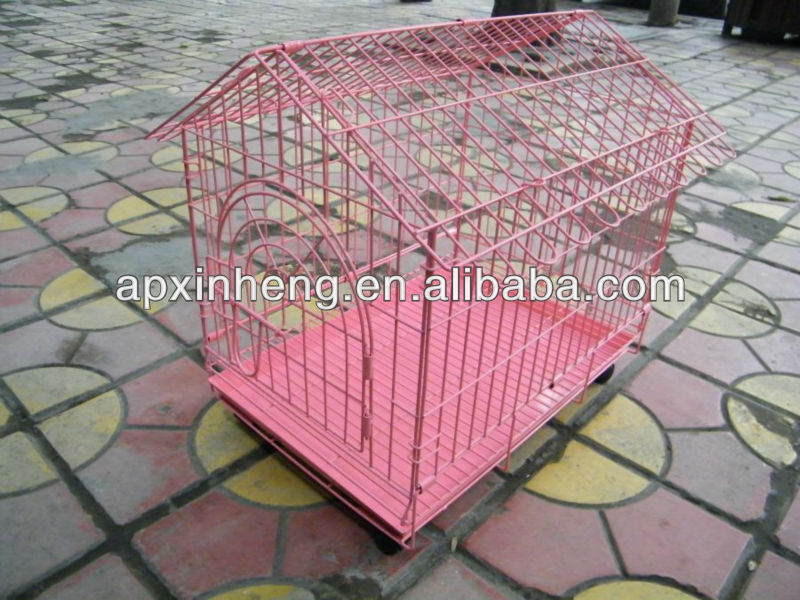 High quality !! stainless steel dog cage / pet cage with tray and wheels ( Factory & ISO9001 )