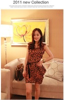 2011 New Collection HM Leopard design Sleeveless Chiffon Mini Dress
