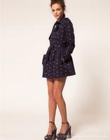 Женский тренч 2012 autumn vintage elegant bird pattern belted coat trench/1 piece fall women ladies coat/DZ003