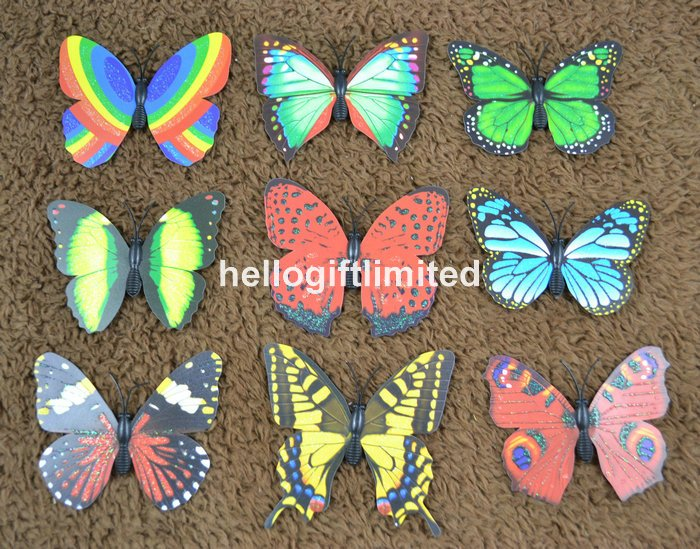 100pcs/lot 7cm Multi Color (30+) Gold Powder Coated Butterfly Fridge Magnet Note Holder Home Office Scene Decor Promotion Gift