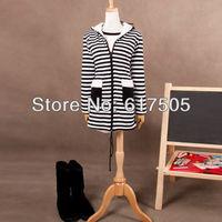 Женские толстовки и Кофты New Casual Ladies Women Winter Warm Striped Hoodie Thicken Sweater Parka Coat Jacket 052