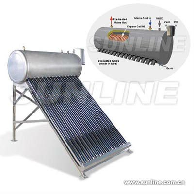 Compact Pressurized Pre-heat Solar water heater with Copper Coil