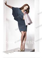 Женское платье women's Sexy one shoulder/bud silk sleeve dress/ fashion Batwing dress Blue 3956