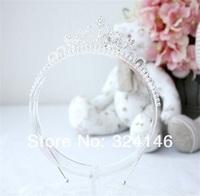 Ювелирное украшение для волос ree shipping 6pcs/lot shiny silver crystal charming children tiara nice head band Crown Princess headwear