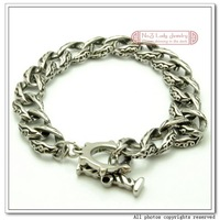 "Браслет из нержавеющей стали 2012 s, 8.8"" 316l Stainless Steel Vintage Bracelet Chain, OT clasp, Antique Finished, WB080"