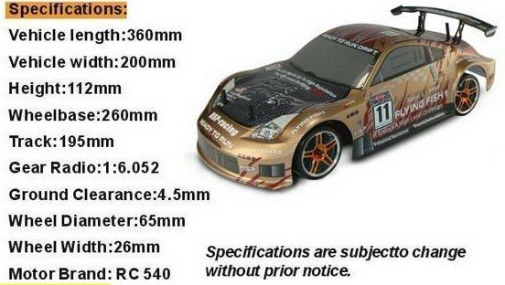 EMS Free Shipping 1:10th Scale hsp 4WD EP on road drifting car ,NI-MH battery+3CH 2.4G transmitter (Model NO:94123)