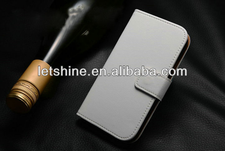 Flip Genuine Leather Case for Samsung Galaxy S4 i9500 ,with Stand + Card Holder New Arrival