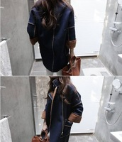 Женская одежда из шерсти fashion denim thick keep warm coat winter coat three quarter outwear women jacket