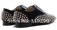 2012  Men's Fashion Genuine Leather Spikes Rivets Platform Sneakers Flats Shoes