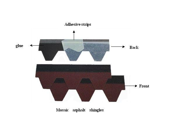Red color Hexagonal bitumen shingles