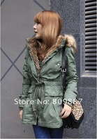 Женские пуховики, Куртки Hot Winter Cinch Waist Hooded Faux Fur Coat Jacket Parka In Stock