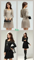 Женское платье 2012 autumn newladies' fashion long-sleeved autumn and winter dress bow pleated skirt