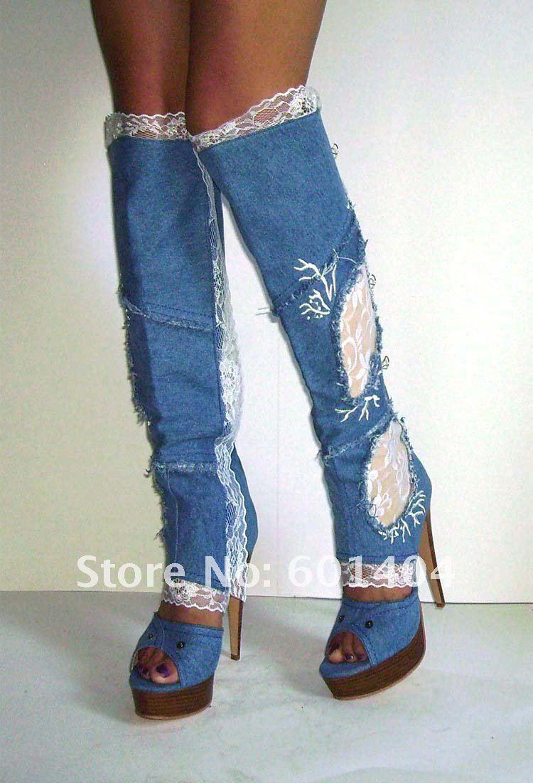 Сапоги летние с джинсами