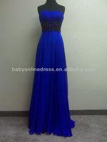 Real Sample Elegant Stapless Sleeveless Zipper Back Applique Chiffon Party Dress Evening Dress RH41