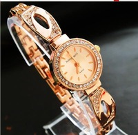Наручные часы hot Fashion high quality Rose gold diamond bracelet women watch and retail