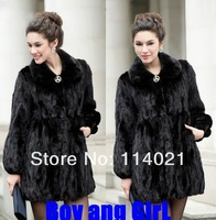 Faux female 2012 large raccoon fur rabbit fur slim medium-long outerwear