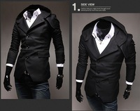 Brand New Mens Suit Coat Unique Designer With Hoody Black/Chestnut Free Shipping