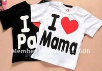 Рубашка для мальчиков Baby T shirt I Love Papa I Love Mama Baby's T-shirts boy girl's short sleeves child t-shirt