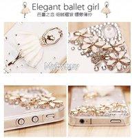 Чехол для для мобильных телефонов New Cute 3D Ballet Girl Bling Crystal Diamond Case For iPhone 4 4S Retail IP5099 w/LCD Screen Protector